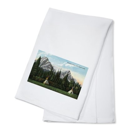 Glacier National Park  Montana   View Of A Blackfoot Camp On Cut Bank Creek  100  Cotton Kitchen Towel