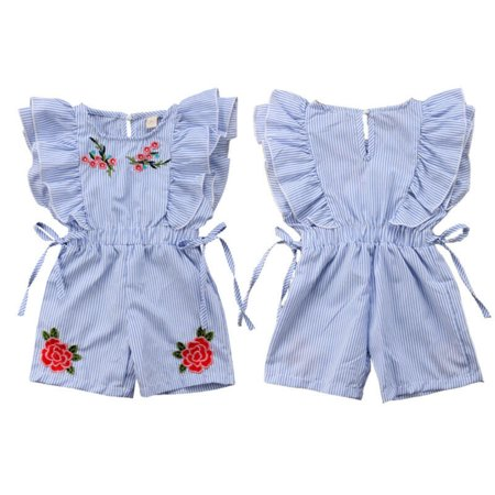 Newborn Kids Baby Girl Flower Stripe Ruffle Sleeveless Romper Embroidery Jumpsuit Outfits Clothes Summer