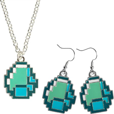 Diamond Ore Pendant Block Jewelry Crafting Pack  Necklace And Earring Set  Minecraft Video Game Merchandise 16 Bit Retro Design Blue   Green Cosplay Playset Collectible  One Size Fits Most