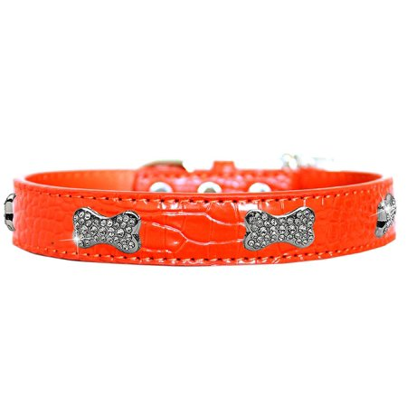 Croc Crystal Bone Dog Collar Orange Size 10 (Crystal Bone Dog Collar Small)