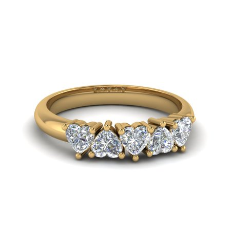 18k White Gold 5 Stone (Wedding Rings For Her 1 Carat Five Stone Heart Shaped Diamond In 18K Yellow)