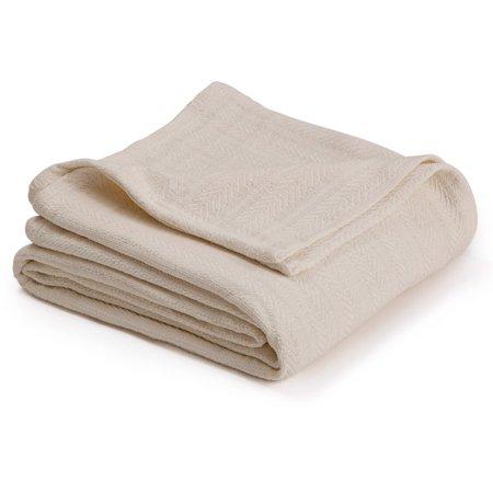 - Vellux Chevron Textured Cotton Woven Blanket - Cozy, Warm, All-Seasons