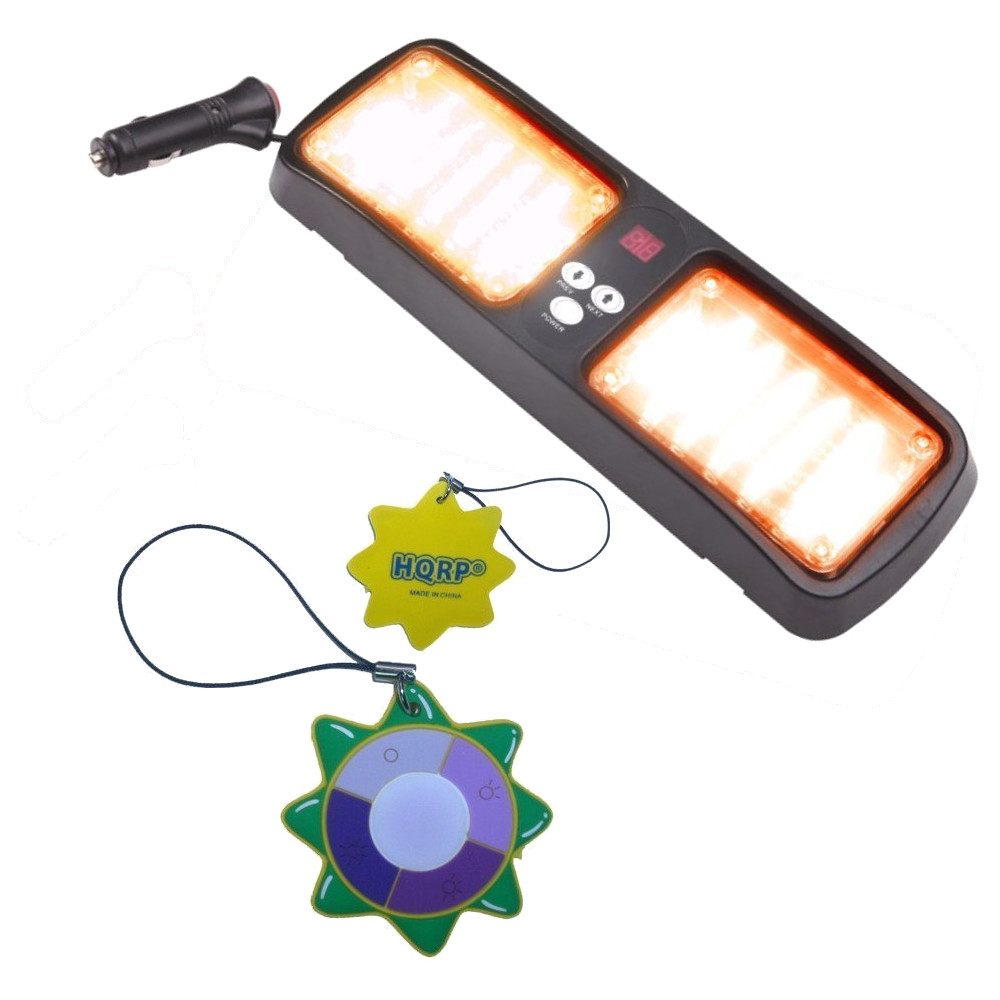 HQRP Sunshield High Power Emergency Warning Car Truck Boat 96 LED Amber Strobe SMD 3528 Flash Lights Visor + HQRP UV Meter