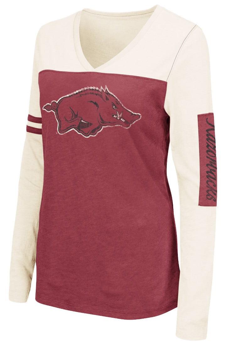 "Arkansas Razorbacks Women's NCAA ""Whatevs"" Long Sleeve V-Neck T-Shirt by Colosseum"