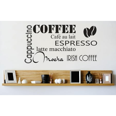 Custom Wall Decal Vinyl Sticker : Coffee Cappuccino Espresso Mocha Latte Kitchen Stylish Peel & Stick Mural 12x12 (Espresso Vinyl)
