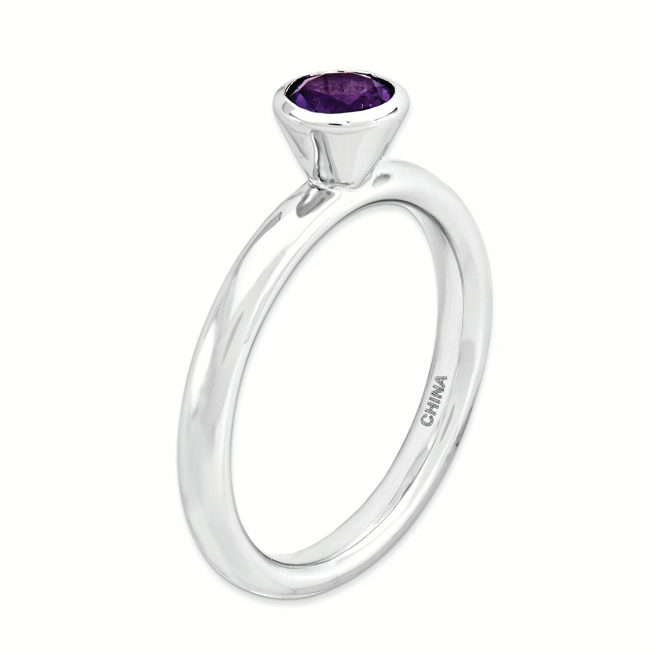 925 Sterling Silver High 5mm Round Purple Amethyst Band Ring Size 6.00 Stone Stackable Gemstone Birthstone February Fine Jewelry Gifts For Women For Her - image 2 of 4