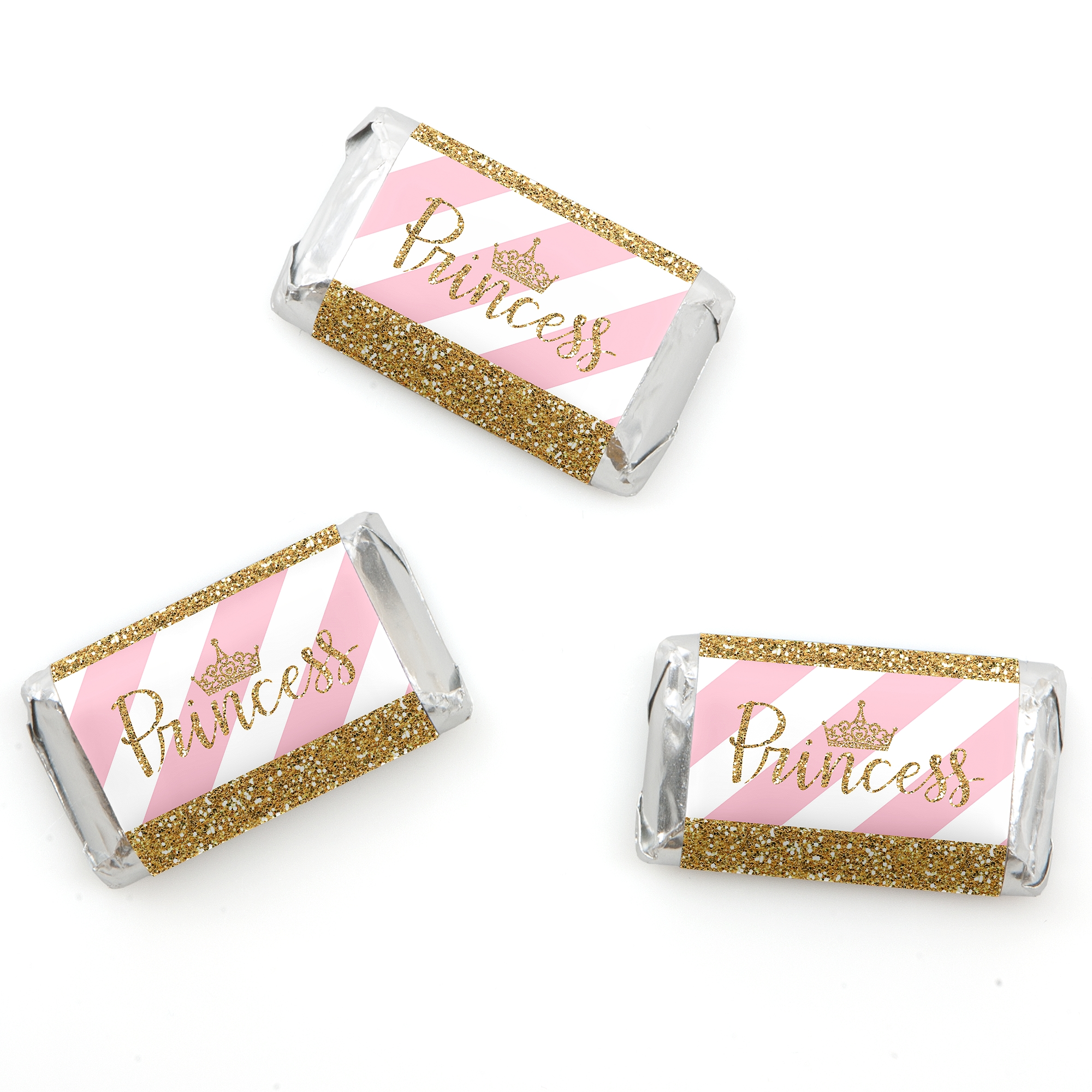Little Princess Crown - Mini Candy Bar Wrappers Pink and Gold ...