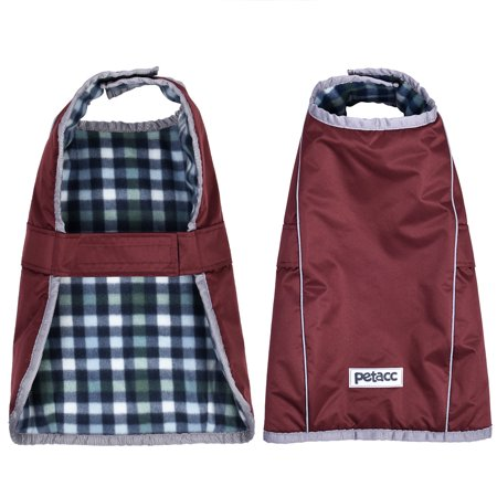 Pet Dog Coats, Petacc Dog Jackets Windproof Cold Weather Dogs Coats Dog Fleece Coat Warm Pet Vest with Reflective Stripe, Suitable for Medium and Large Size Dogs, Red, XL