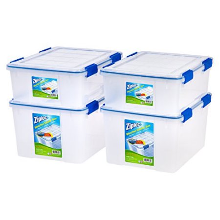 Ziploc 26.5 and 44 Quart WeatherShield Storage Box, 4 Pack