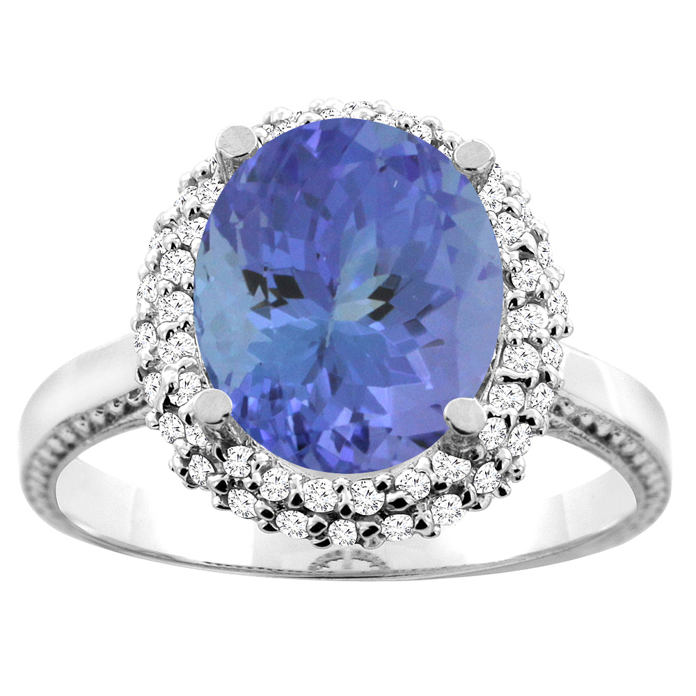10K White Gold Natural Tanzanite Double Halo Ring Oval 10x8mm Diamond Accent, size 5 by Tanzanite Rings