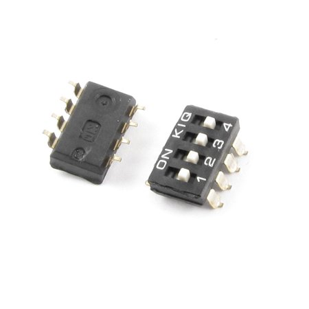 2 x Black 2.54mm Pitch Double Row 8 Pin 4 Position Way SMD DIP Switch