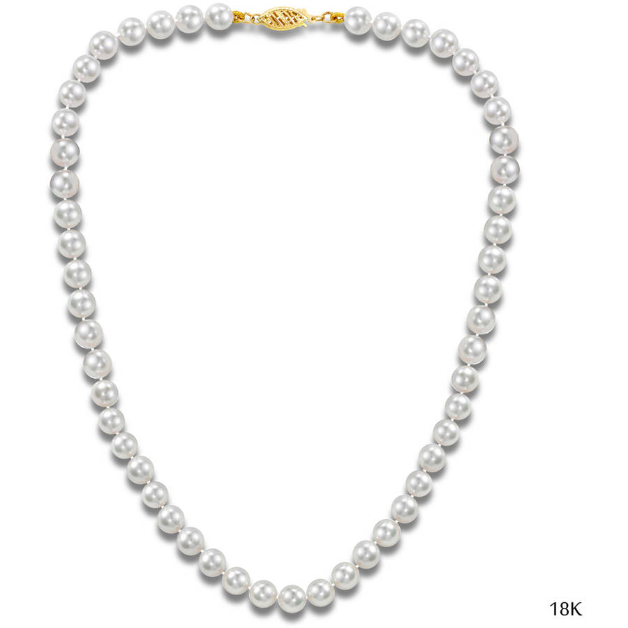 """Image of Japanese Akoya Saltwater Cultured White Pearl 18kt Gold Necklace for Women, 16"""", 7.5mm x 8mm"""
