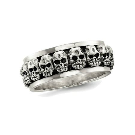 Mens Antiqued Polished Skull Ring in Sterling - Mens Skull Rings