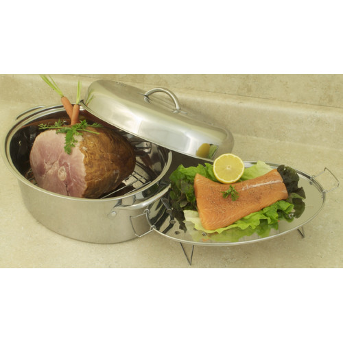 Cook Pro 23 lb 4pc Stainless High Dome Roaster and Fish Poacher