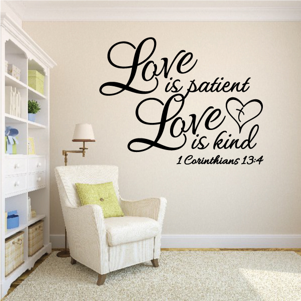 Love is Patient Wall Decal - Vinyl Decal - Car Decal - Vd068 - 36 Inches