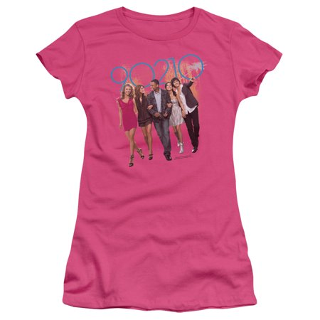 90210 CW Drama TV Series Cast's Walk Down the Street Juniors Sheer T-Shirt