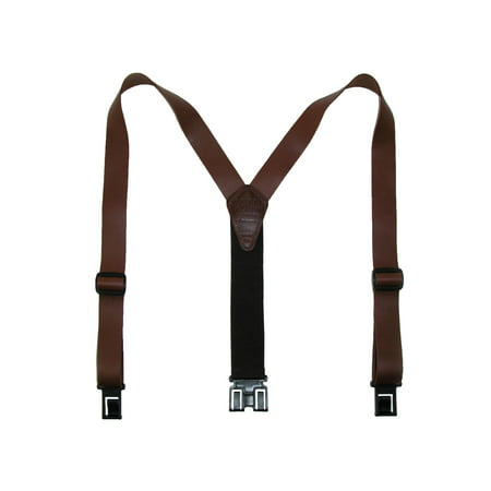 Floral Leather Suspenders - Size one size Men's Leather Dress Hook End Suspenders