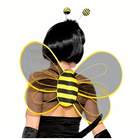 Forum Halloween Sexy BumbleBee Sheer Costume Wings, Black Yellow, One-Size