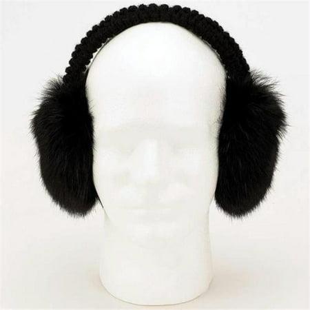 Genuine Rabbit Synthetic Fur Earmuffs - Black Genuine Rabbit Fur