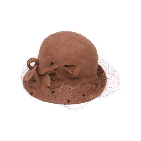 Womens Cloche Hat w/ Veil and Bow - Pecan - image 1 of 1