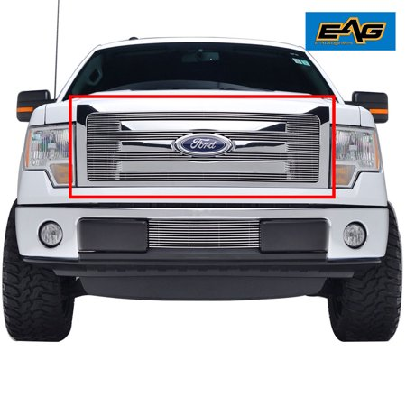 EAG 2009-2014 Ford F-150 Billet Grille Front Upper Aluminum Polished 4mm Horizontal Overlay
