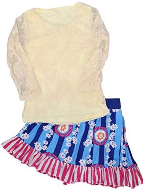 Unique Baby Girls Long Sleeved Lace Top and Skirt 2-Piece Outfit (3T)