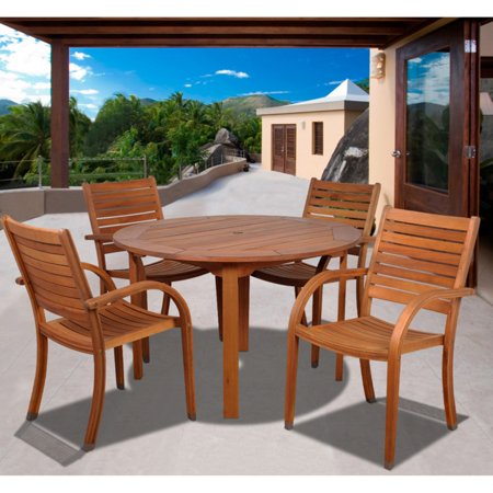amazonia kentucky 5 piece round eucalyptus patio dining set. Black Bedroom Furniture Sets. Home Design Ideas