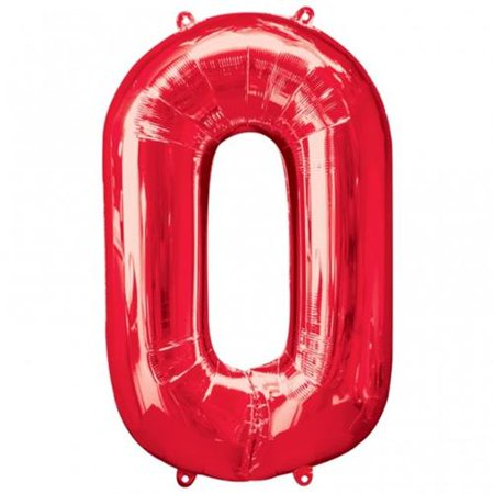 Giant Red Number 0 Foil Balloon 35