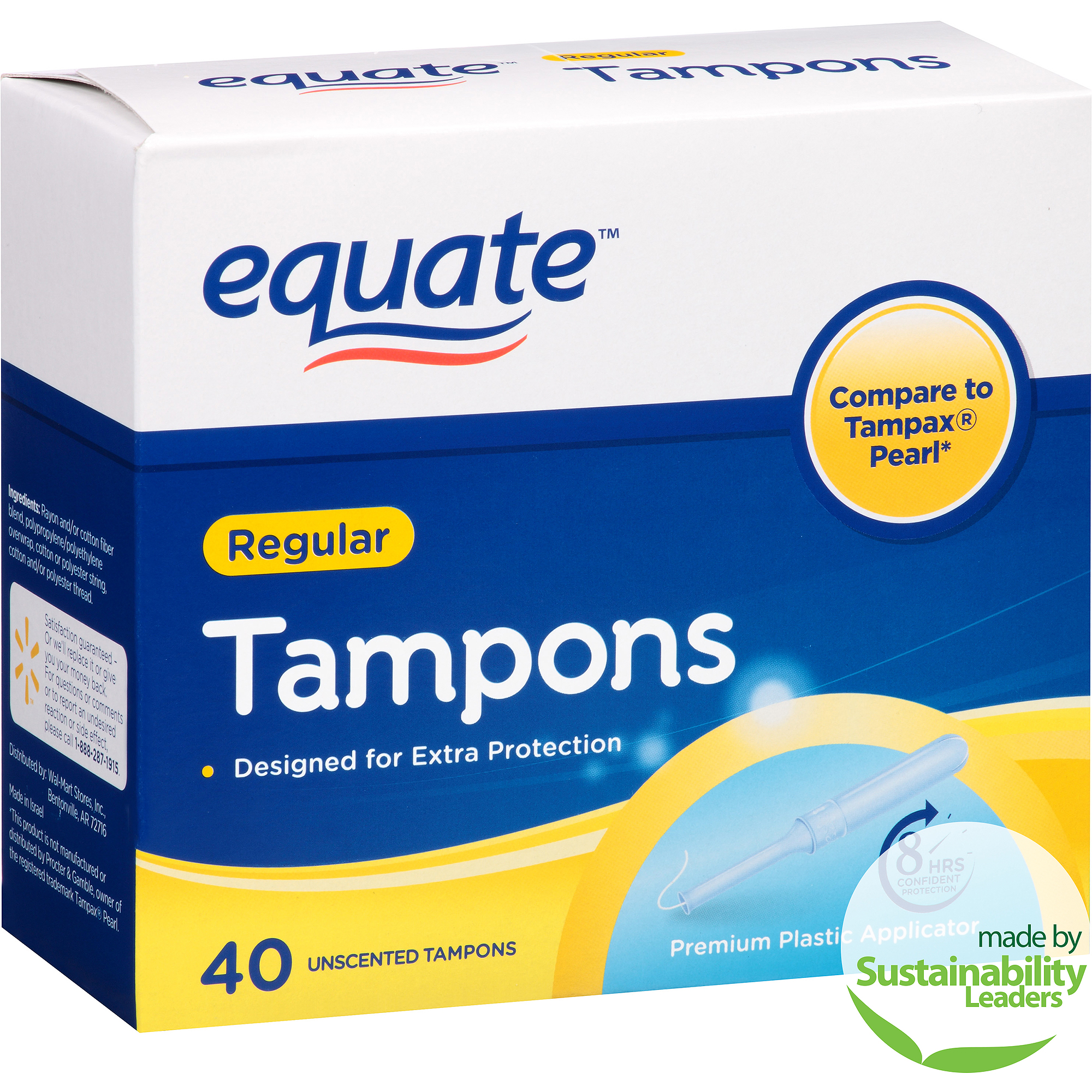 Equate Regular Absorbency Unscented Premium Plastic Tampons, 40 count