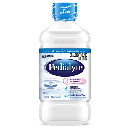 Pedialyte Electrolyte Solution  Unflavored  Electrolyte Drink  Liquid  35 Fl Oz  Pack Of 8