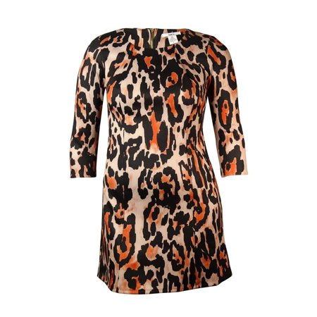 Bar III Women's Long Sleeve Animal Print Dress (L, Black/Multi)