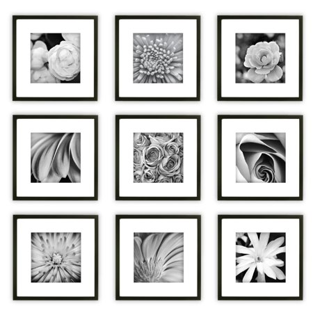 9 Piece Black Wood Square Photo Frame Wall Gallery Kit #14FW1018 ...