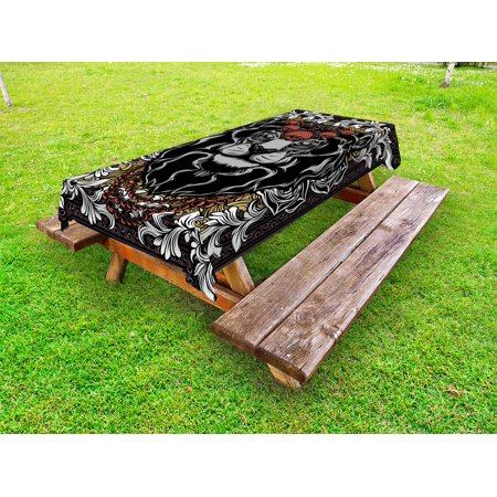 King Outdoor Tablecloth, Forest Jungle Emperor Safari Animal Lion with Medieval Design Frame Print, Decorative Washable Fabric Picnic Table Cloth, 58 X 84 Inches,Grey White Coral Black, by Ambesonne](Medieval Table Setting)