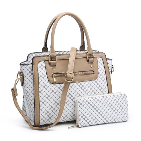 Pvc Fashion Bag - Plaid Purses and Handbags for Women, POPPY Fashion Ladies PVC Top Handle Satchel Shoulder Tote Bags With Matching Wallet