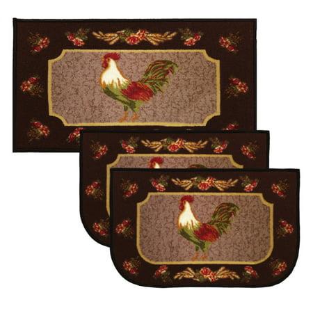 Kashi Home Rooster Brown 3pc Kitchen Rug Set, (2) Slice 18 ...
