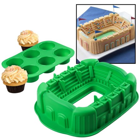 2Pc Silicone Baking Set Sport Stadium Bundt Cake Pan   6 Cup Cupcake Mold