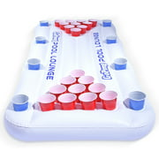 GoPong Pool Lounge 6' Inflatable Beer Pong Pool Float Table Game, White