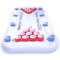 GoPong Pool Lounge Inflatable Beer Pong Table with Social Floating, 6' Long