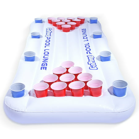 GoPong Pool Lounge Inflatable Beer Pong Table with Social Floating, 6' Long Beer Pong Flip Cup