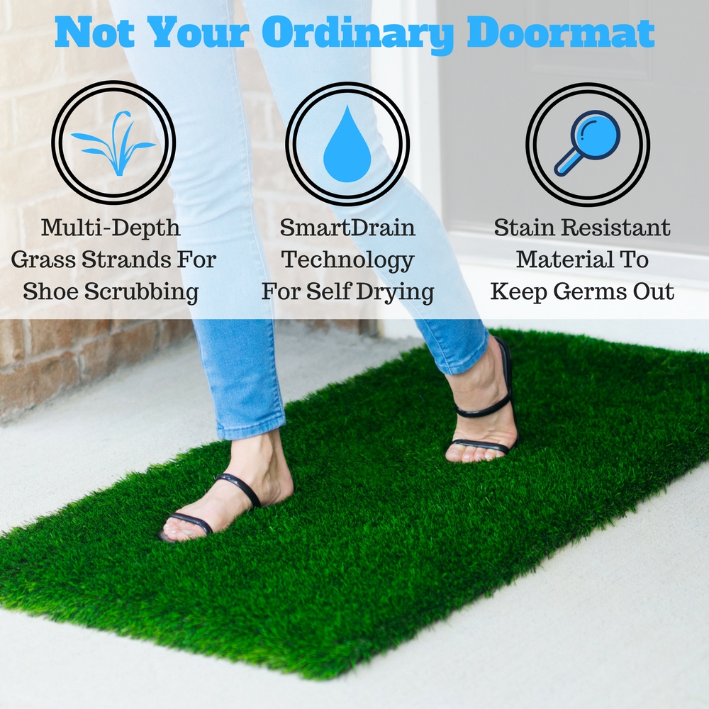Large Grass Door Mat Rug With SmartDrain Technology - Stain ...