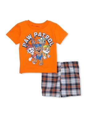 Paw Patrol Baby Toddler Boy T-shirt & Plaid Shorts, 2pc Outfit Set