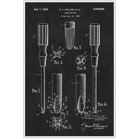 Carpentry Screwdriver Tools Patent Blueprint, Photo Art - Black Chalkboard