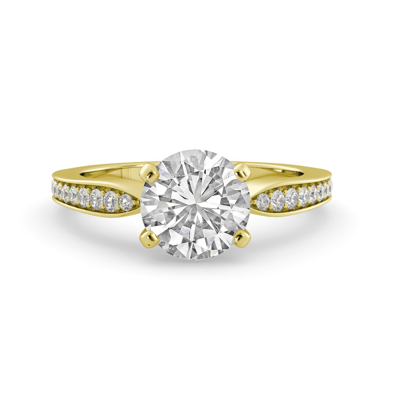 2.90 dwt Brilliant Round Forever Br Moissanite & Diamond Engagement Ring 14k Yellow Gold