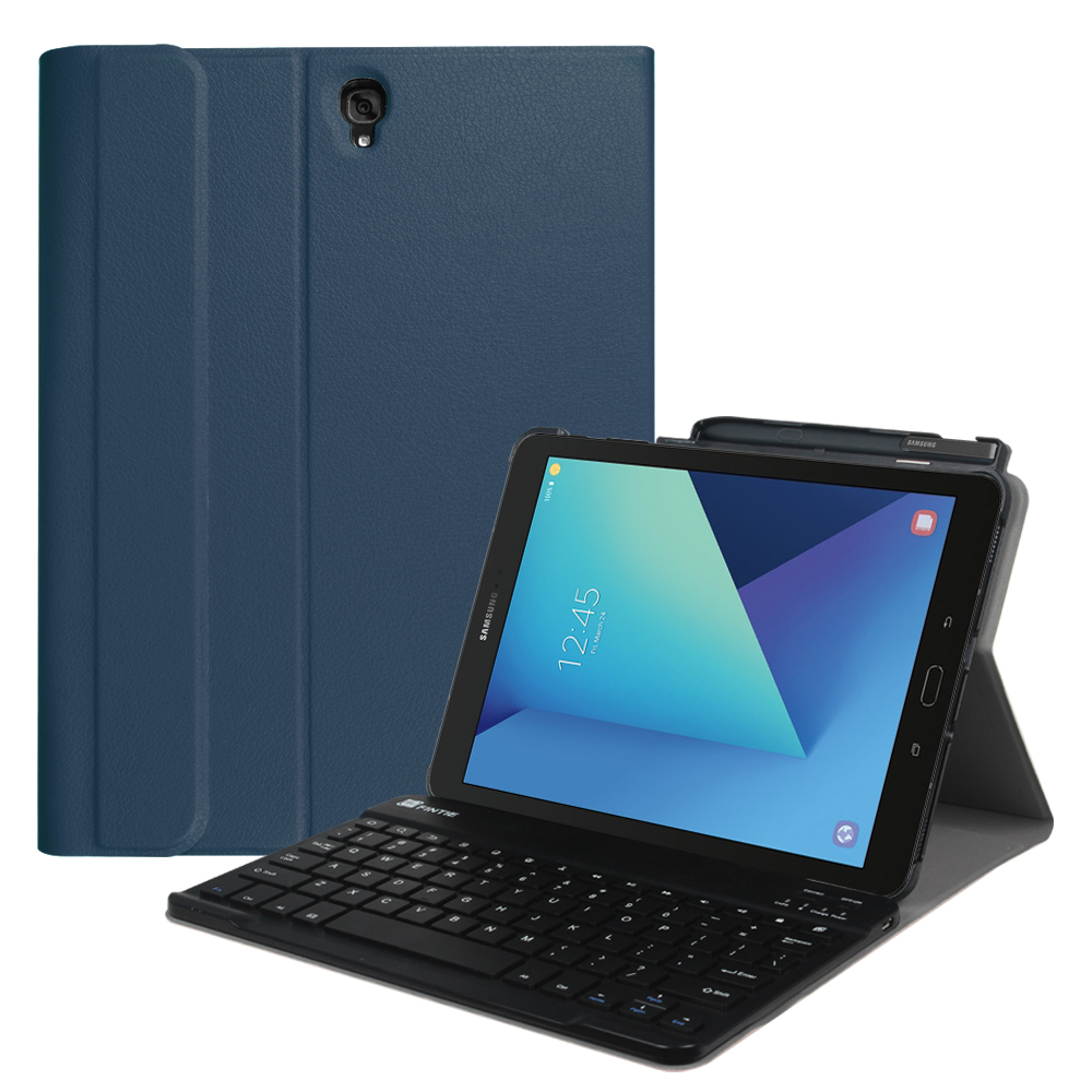 For Samsung Galaxy Tab S3 9.7 Wireless Bluetooth Keyboard Case, Smart Slim Cover with S Pen Protective Holder , Navy