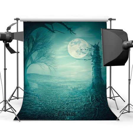 ABPHOTO Polyester 5x7ft Photography Backgrounds Halloween Horror Night Mysterious Moon Old Tree Scene Seamless Children Adults Masquerade Photo Backdrop Studio Props - Halloween Horror Nights For 13 Year Olds