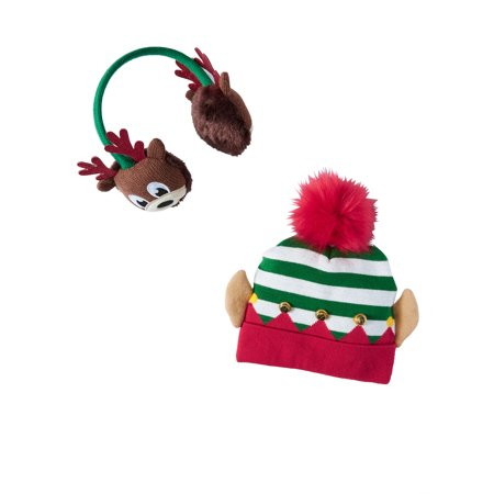 Holiday Time Festive Pom Elf Hat and Reindeer Earwarmer 2-Piece - Cheap Elf Hats
