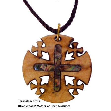 Pearl Cross (Jerusalem Cross Olivewood & Mother of Pearl)