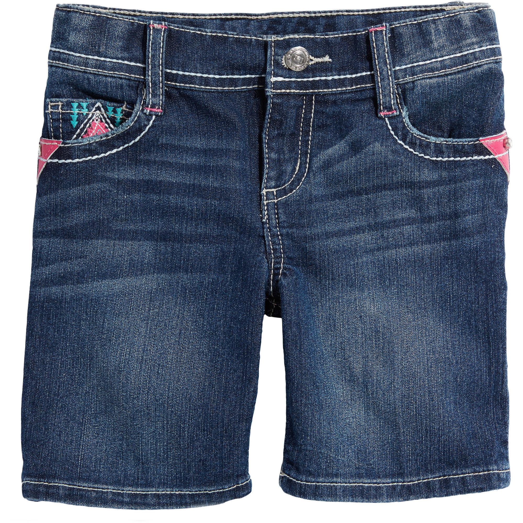 LEI Girls' Aztec Denim Midi Shorts