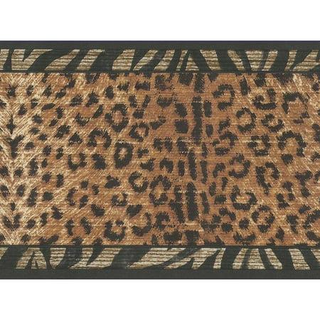 Leopard Skin With Zebra Edge Wallpaper Border MN5015