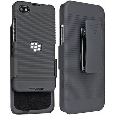 Blackberry Belt Case (BLACKBERRY Z30 ARISTO A10 CASE BELT CLIP, NAKEDCELLPHONE'S BLACK RIBBED HARD CASE COVER + BELT CLIP HOLSTER STAND FOR BLACKBERRY Z30, A10, ARISTO (Verizon, Unlocked))